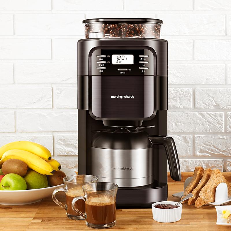 英国 摩飞电器 MR1028美式咖啡机家用全自动滴漏式现磨咖啡豆研磨一体机