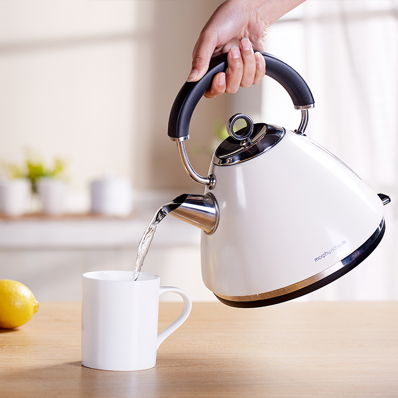 英国 摩飞电器 烧水壶电热水壶家用全自动断电304不锈钢 白色