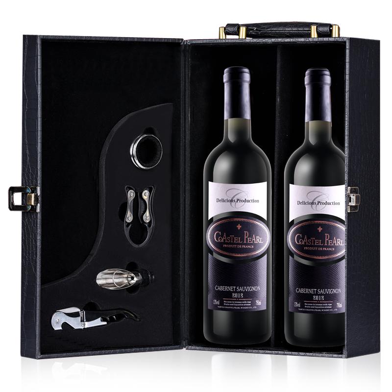美多瓦 法国原酒进口红酒甜型红葡萄酒750ml2支+皮箱+酒具