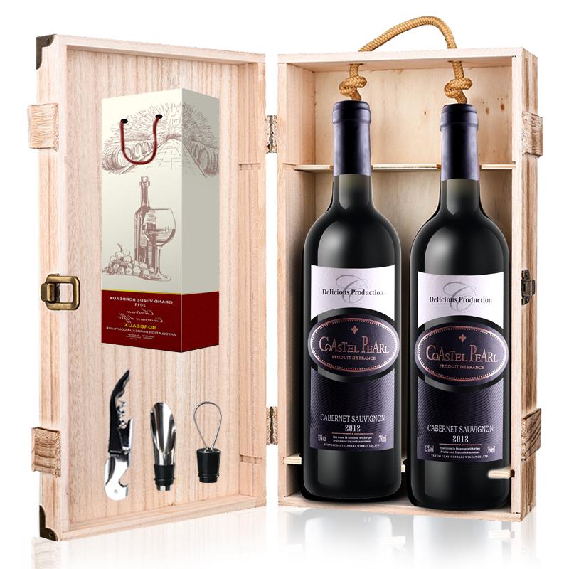 美多瓦 法国原酒进口红酒甜型红葡萄酒750ml2支+木箱+酒具