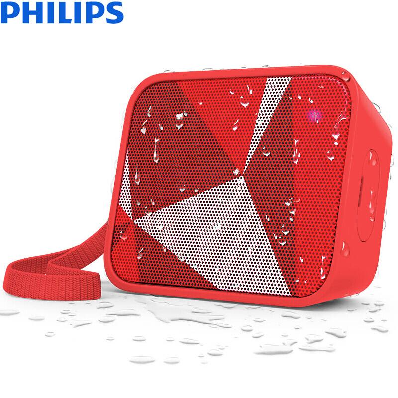 飞利浦(PHILIPS) BT110无线蓝牙音箱 防水便携迷你音响 手机/电脑外响 低音炮 户外运动 免提通话 红色