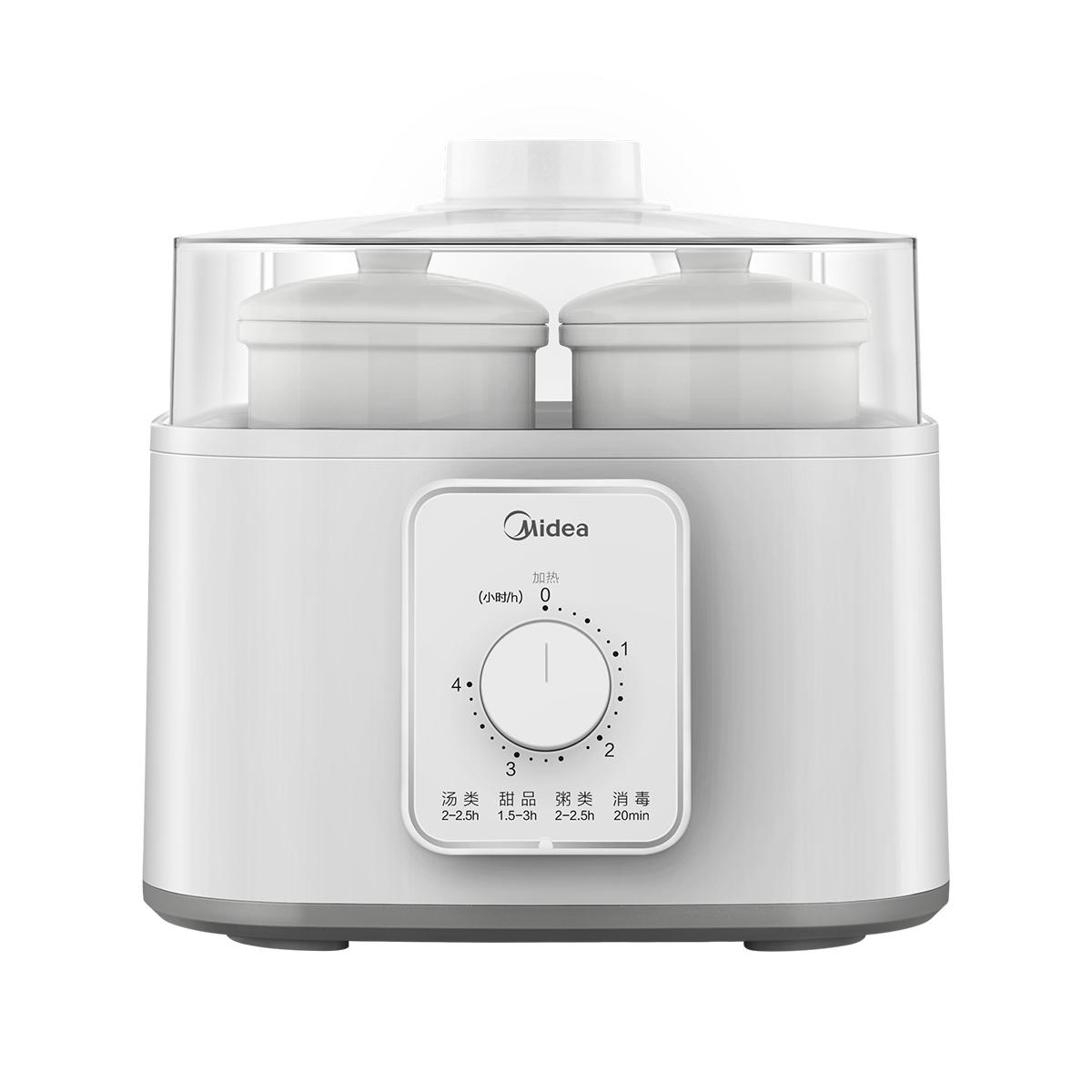 美的(Midea)电炖锅 电炖盅 蒸汽养生锅 1盅5胆 白瓷内胆 多功能 煲粥 鸡汤汽锅 机械版 MD-DZ16power502