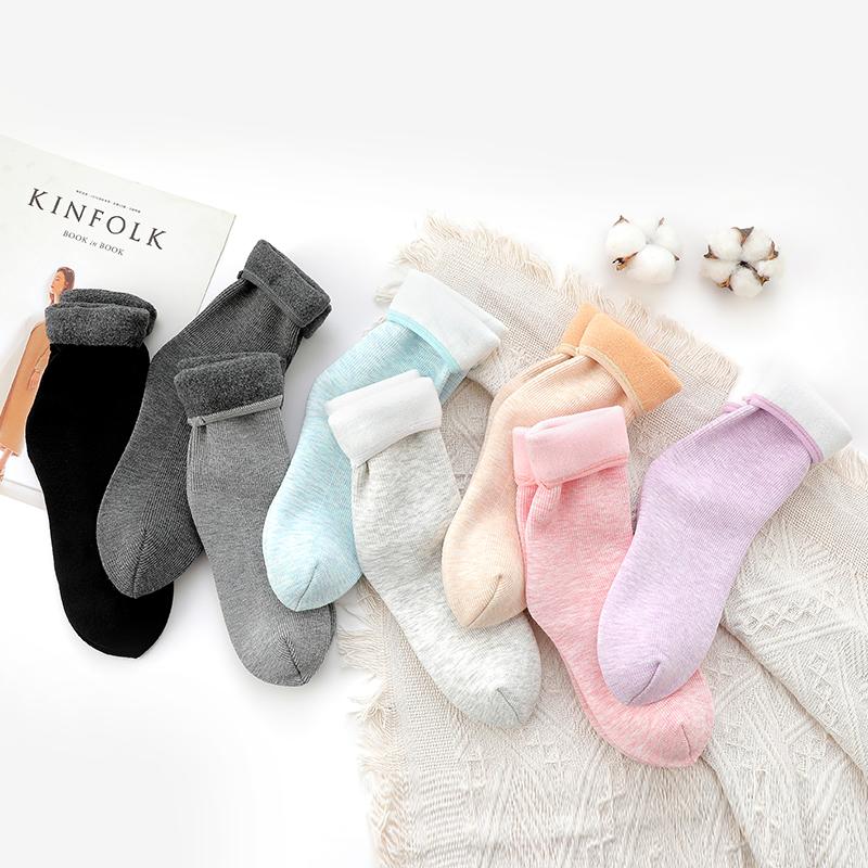 SOBO 棉竖条舒适加绒加厚透气亲肤锁热保暖中筒雪地袜女士地板袜冬季保暖居家袜子*2双装 B305