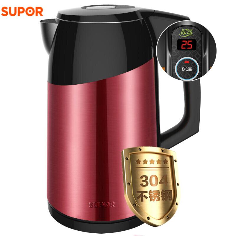 苏泊尔(SUPOR) SWF17S16A  电热水壶家用保温304不锈钢自动断电1.7L