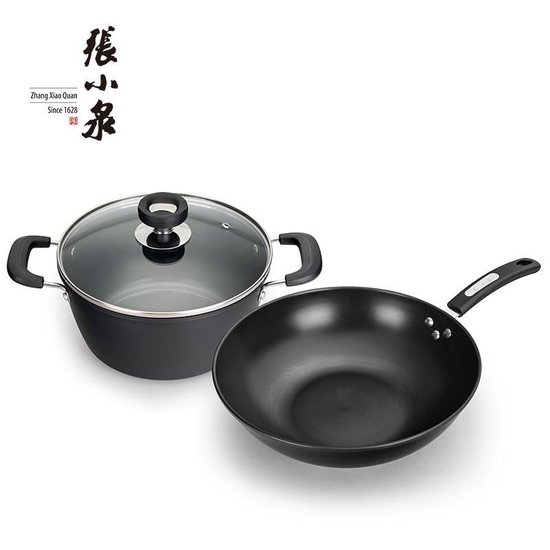 张小泉 锦厨系列精铁锅具两件套 C35270100 炒锅32cm 汤锅22cm