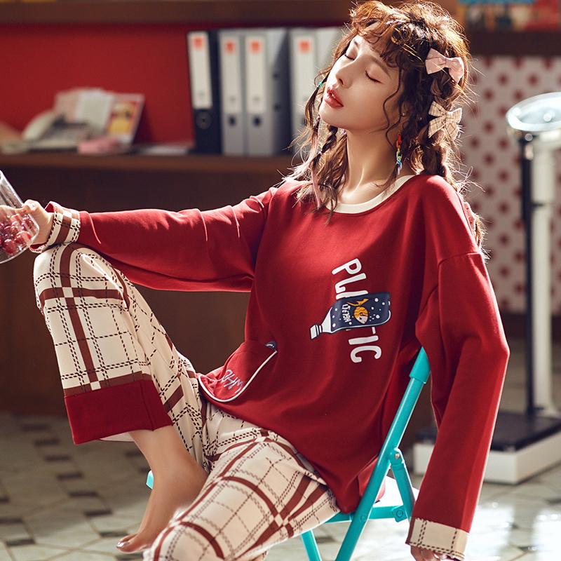 北极绒2019秋季新款韩版印花纯棉圆领睡衣女家居服套装AX19402
