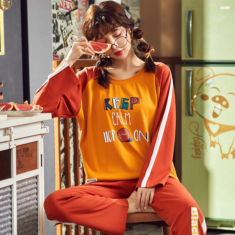 北极绒2019秋季新款韩版印花睡衣女款家居服套装AX19413