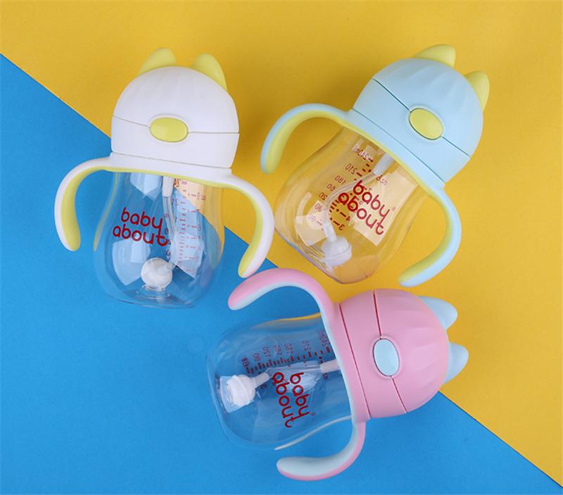 babyabout防漏防摔 婴幼儿吸管学饮杯防喷溅卡通猫咪杯子 047