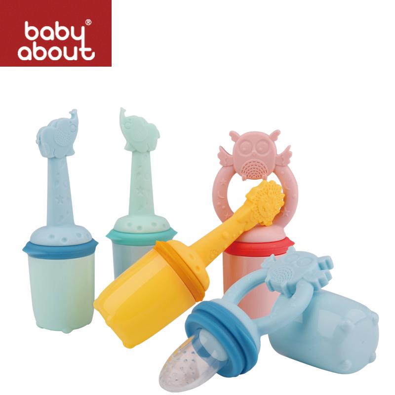 babyabout宝贝有约婴儿果蔬咬咬袋卡通硅胶手柄3个奶嘴宝宝咬咬乐  034