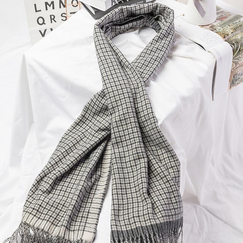 皓曼围巾 香榭羊毛披肩系列  HM-D001黑灰格