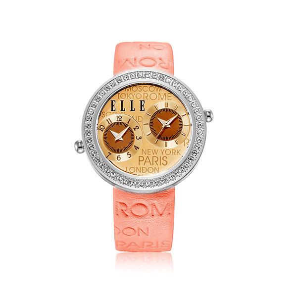 【预售 2月3号发货】ELLE时尚复古真皮防水圆形女士手表盘镶嵌红宝石橙色 EL20038S23C 橙色