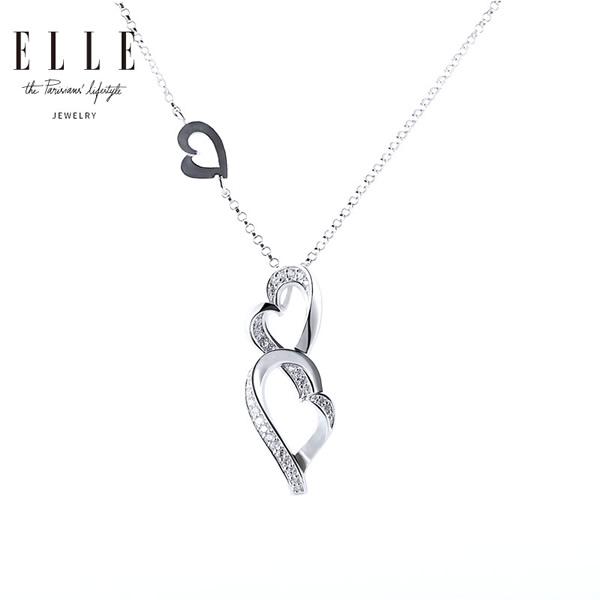 ELLE925银项链女锁骨链简约心相惜系列吊坠爱心