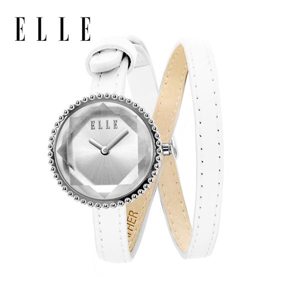 【预售 2月3号发货】ELLE手表女时尚拉丝表盘小牛皮表带时尚潮流防水手链表 EL20255S04X 白色