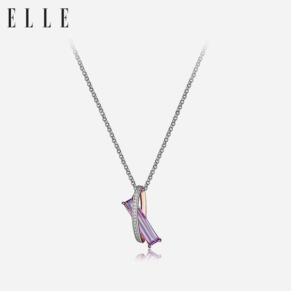 ELLE项链 神秘石英系列 S925银红宝石镀玫瑰金饰品 美国JCK获奖款3036100玫瑰金