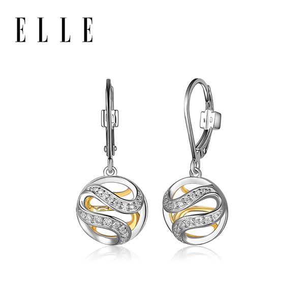 ELLE Moon Shadow系列奥斯汀气质时尚百搭2019新款耳饰品 8108100T 黄色