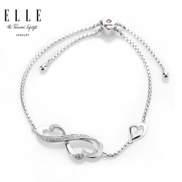 ELLE饰品心心相印925银镶锆石手链5012100银色
