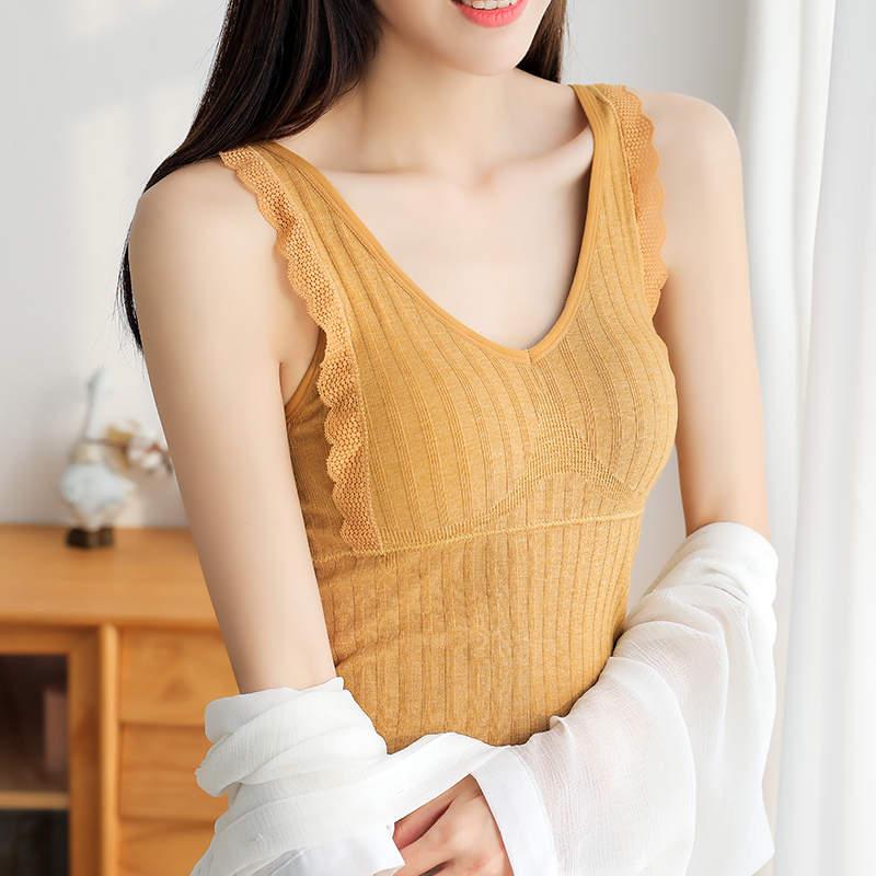 SOBO B453日系秋冬新款女士蕾丝花边背心 彩棉保暖打底衫可外穿带胸垫