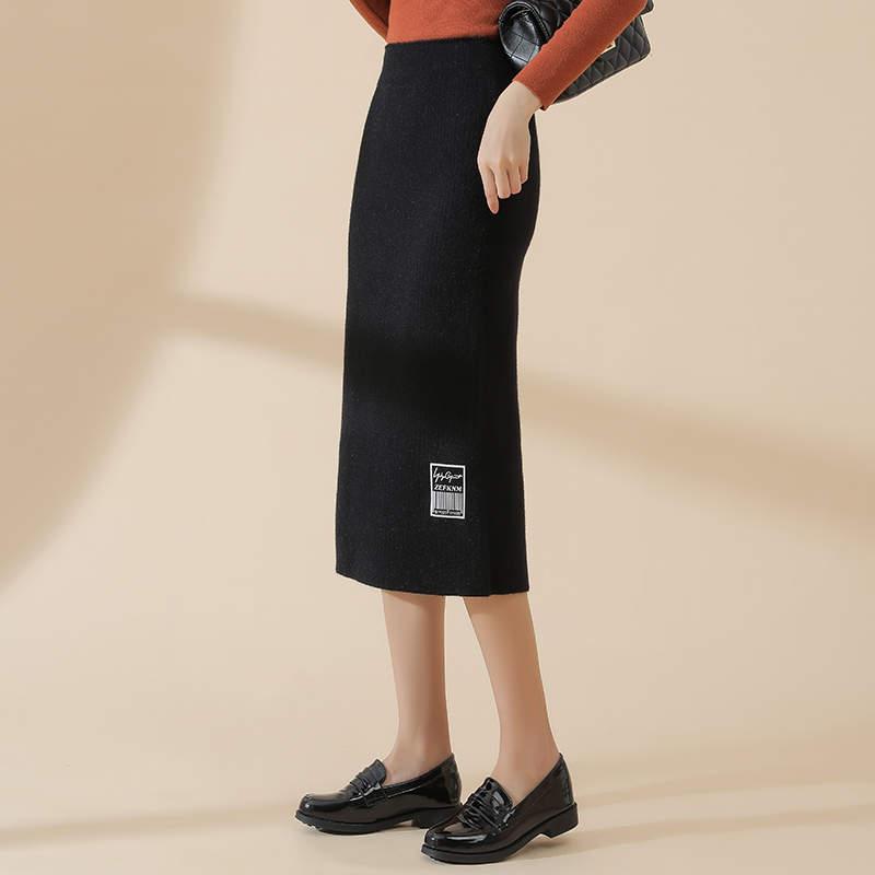 SOBO B454舒适韩版高腰显瘦水貂绒针织开叉长裙时尚毛线裙半身裙