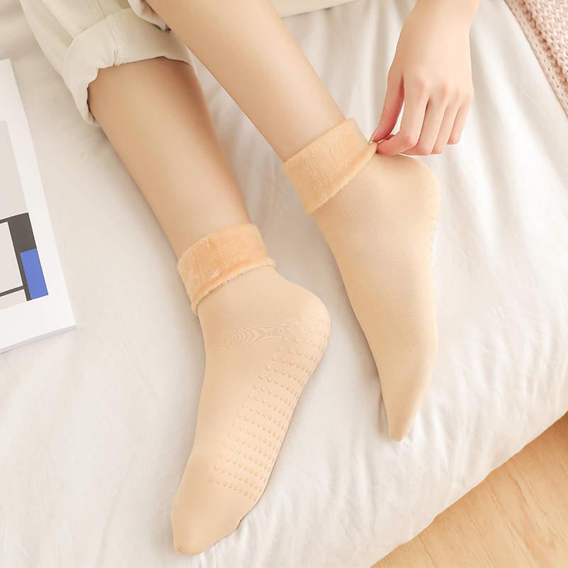 SOBO  B439秋冬保暖中筒硅胶雪地袜加绒加厚女士时尚纯色点胶地板袜45g