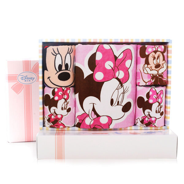 Disney迪士尼米妮毛浴巾5件套礼盒25*25cm*20g