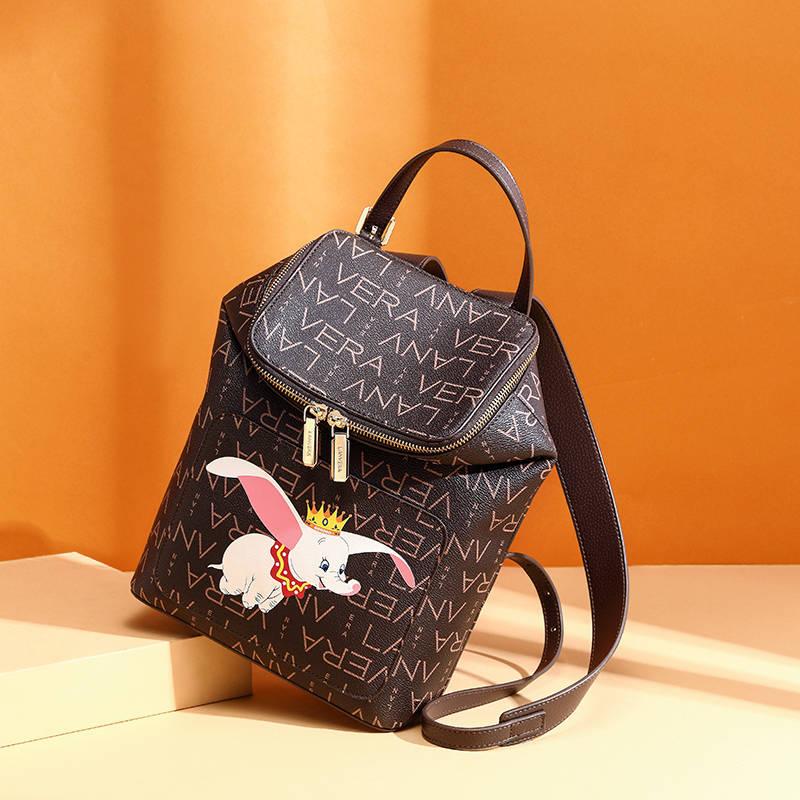 LANVERA朗薇 L9570双肩包时尚背包可爱小飞象书包复古印花小包包大学生