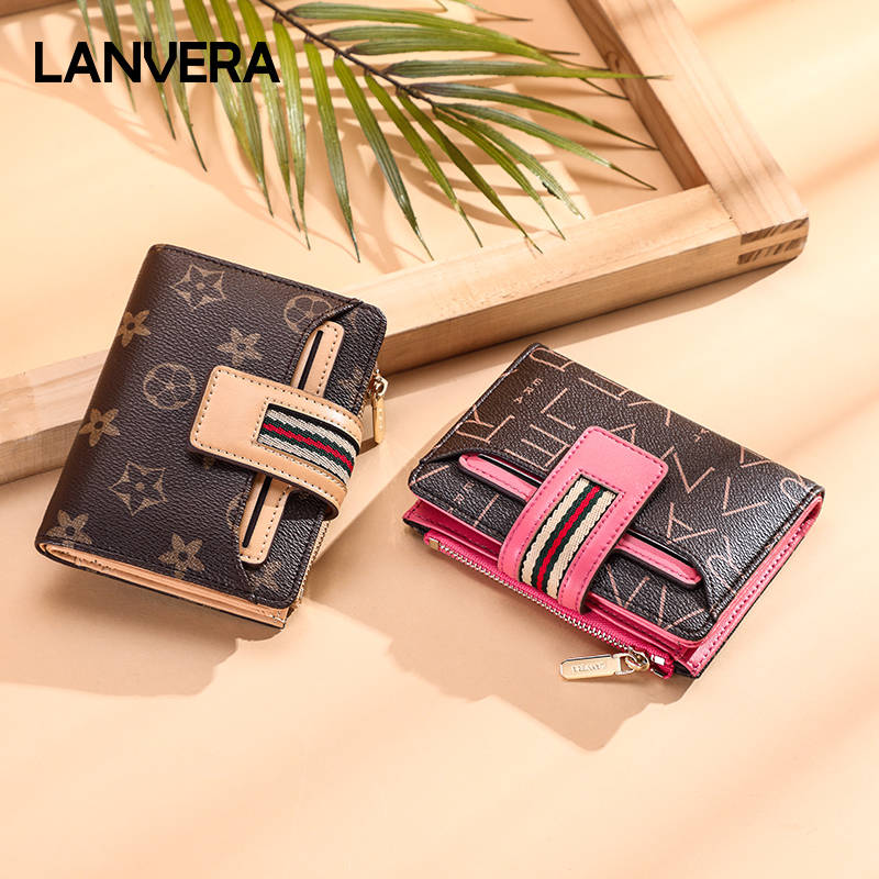 Lanvera朗薇 包包女2019新款零钱包时尚潮流多功能撞色女士钱夹折叠零钱卡包  L9076