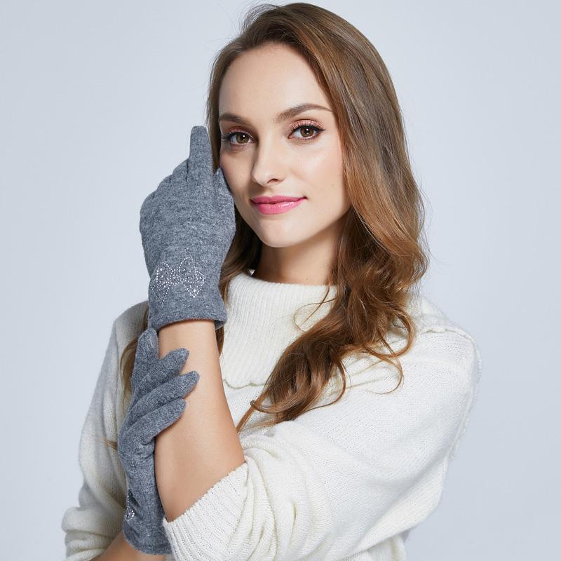 Alyzee爱丽榭女士羊毛加厚触摸屏保暖手套烫钻蝴蝶结A3078