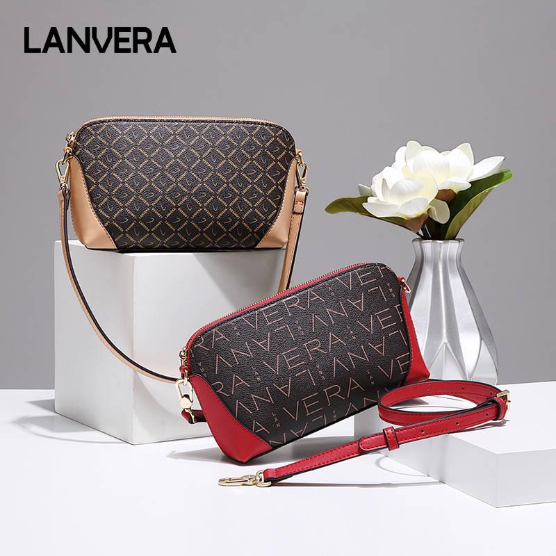 LANVERA朗薇 L6031-1包包女包新款欧美时尚单肩斜挎包迷你贝壳包印花手拎包  单肩/斜跨