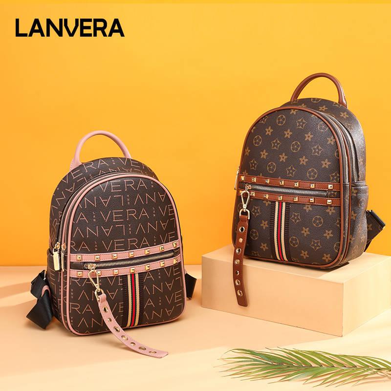 Lanvera朗薇 L9539双肩包女新款时尚韩版旅行背包潮书包大容量街头ins包包