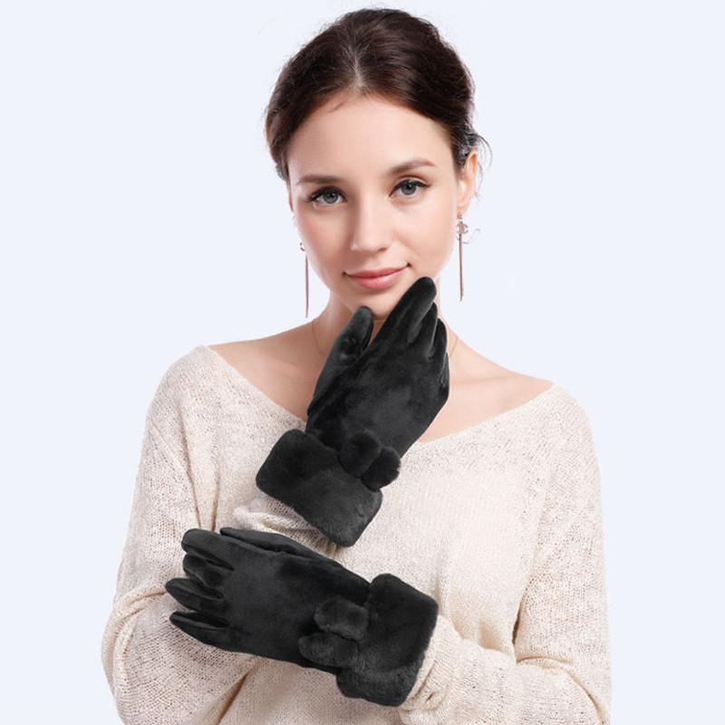 Alyzee爱丽榭女士加厚加绒手套女冬保暖可爱学生防寒防风骑车开车手套A3081