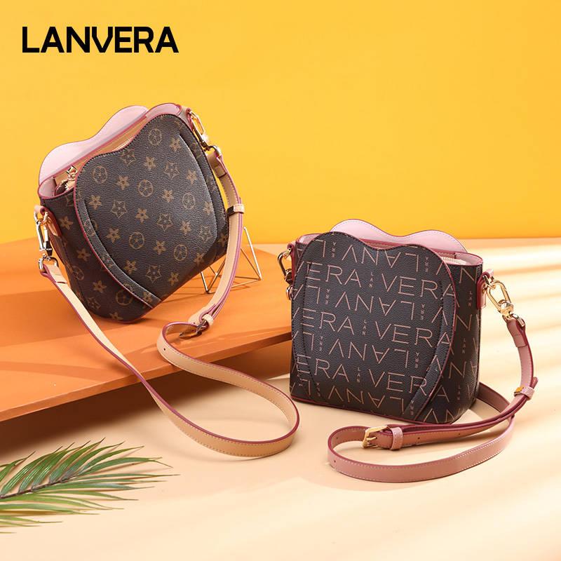 Lanvera朗薇  小包包新款2019流行女士可爱水桶包斜挎限定爱心女包时尚 赠宽肩带 L9535