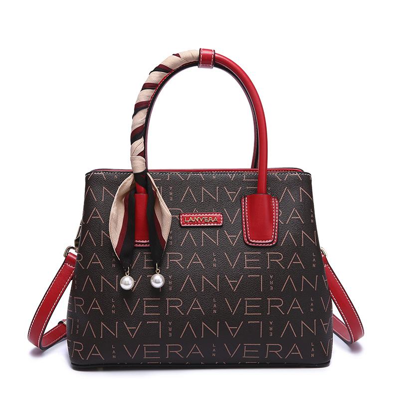 Lanvera朗薇  L8723女包时尚百搭手提包大容量两用手拎斜挎女士包包