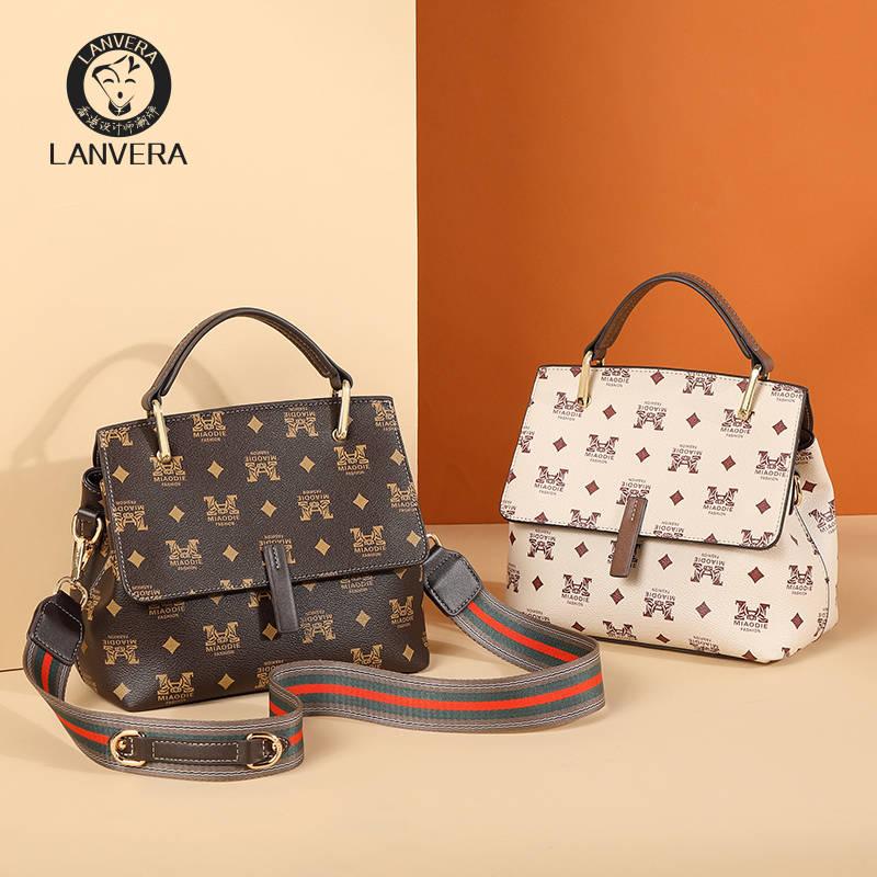 Lanvera朗薇  L9215高级感包包女新款潮秋季简约手提单肩包大容量印花女包宽肩带