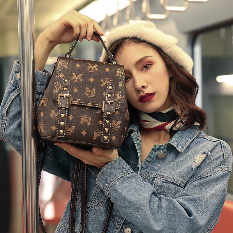 Lanvera朗薇  L9223新款韩版潮百搭印花小背包女单肩双肩包多功能时尚小包包宽带