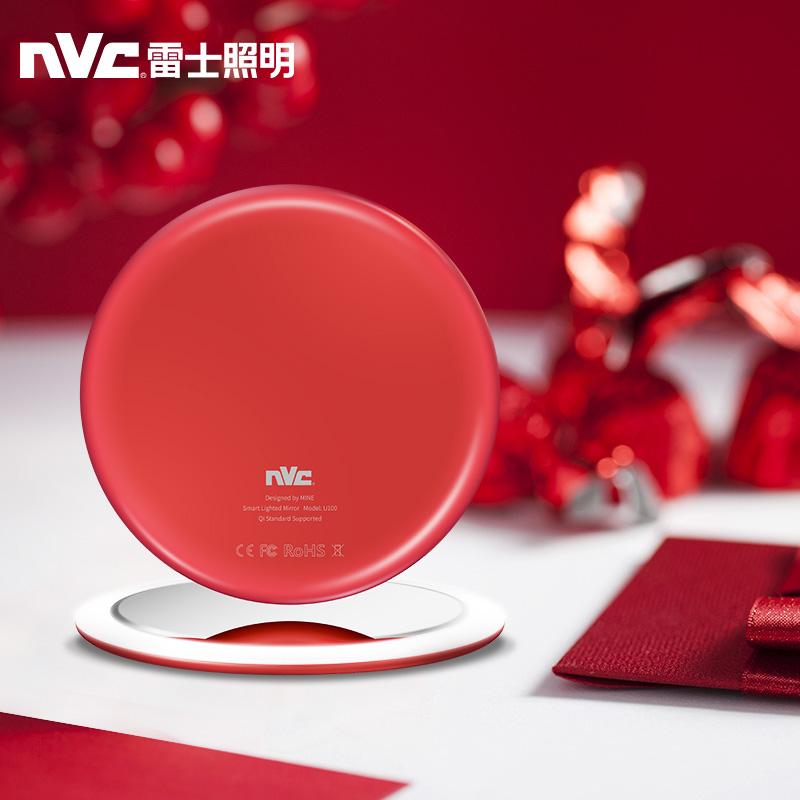 雷士智能化妆镜欧美式圆形led带灯网红单面高清梳妆镜公主美容镜