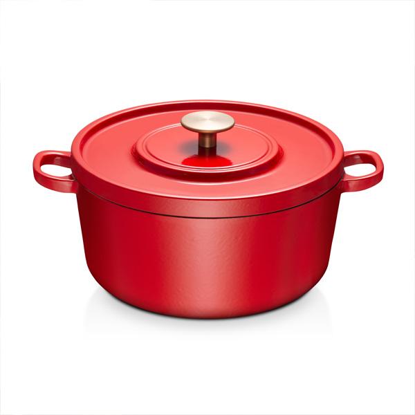 科勒24cm铸铁锅-亮红 (内壁:米白色珐琅)