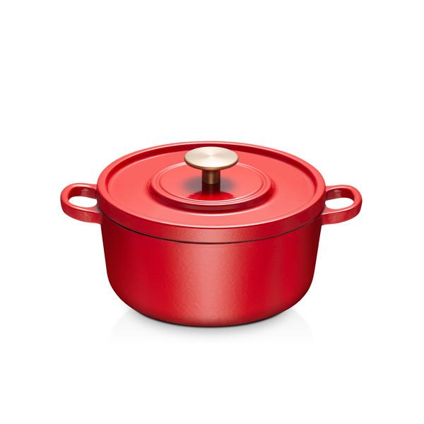 科勒20cm铸铁锅-亮红 (内壁:米白色珐琅)
