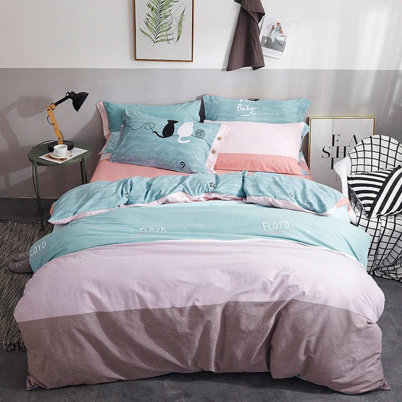 金丝莉 全棉磨绒保暖套件 床单四件套被套被罩全棉加厚磨毛绒简约床上用品套件 一生相伴
