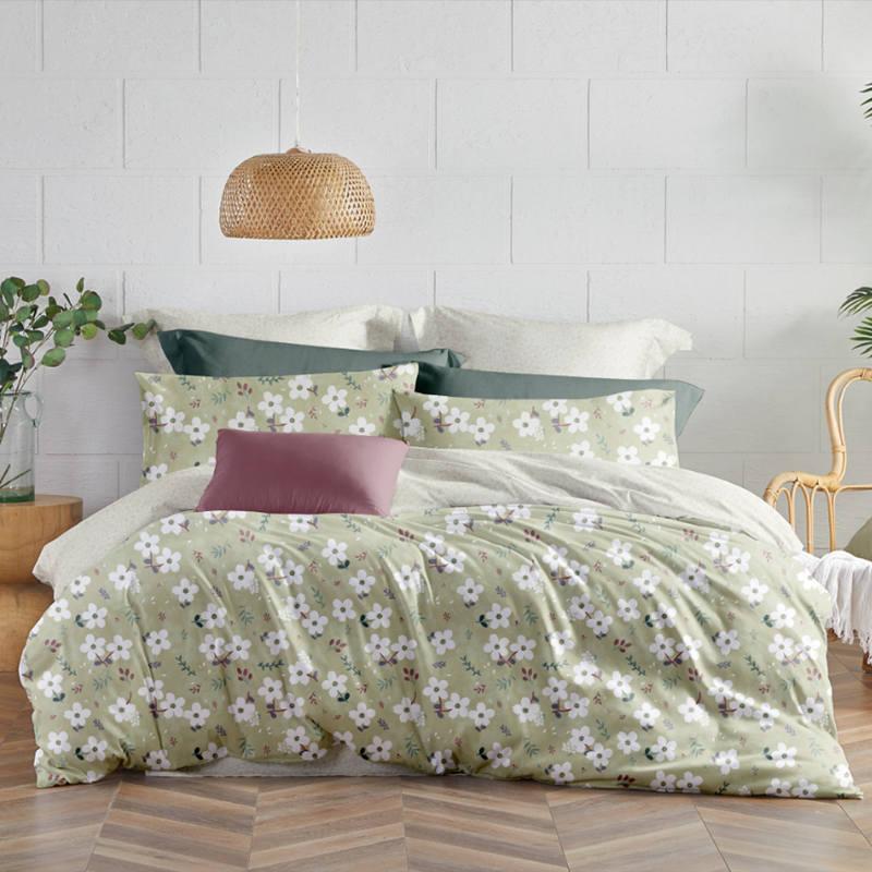 罗莱 全棉印花四件套 全棉亲肤四件套 纯棉床单被套 花影如梦 VF7984
