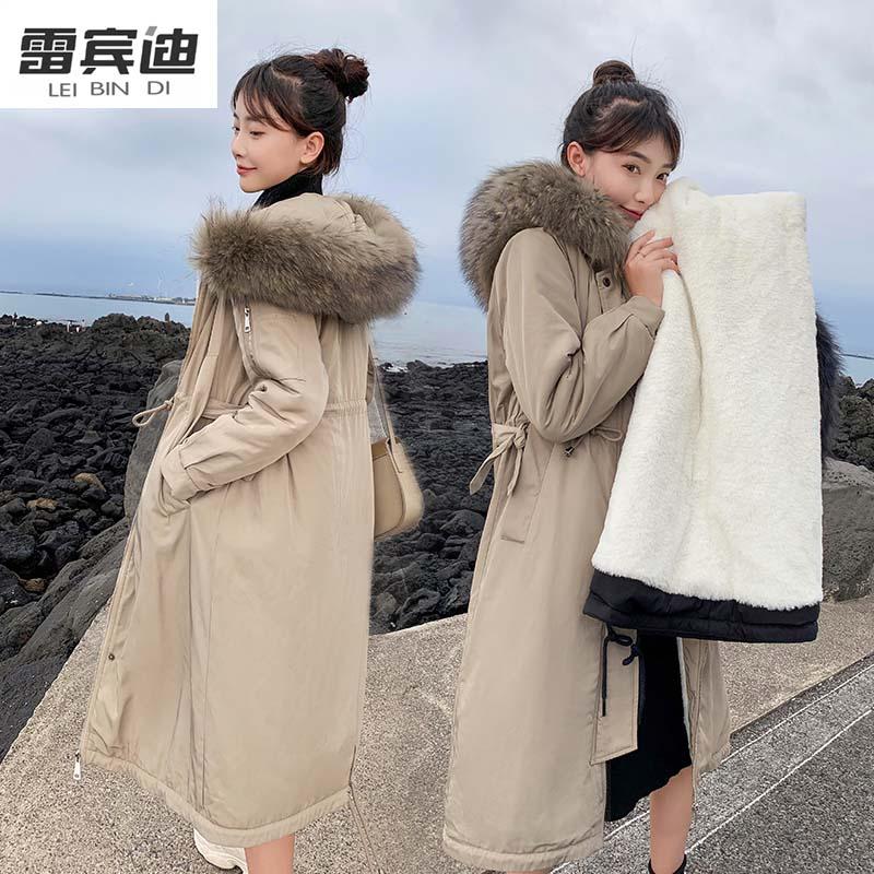 LEIBINDI/雷宾迪新款羽绒服女长款宽松收腰派克皮草外套825