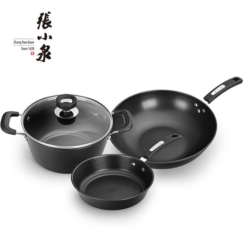 张小泉 锦厨系列精铁锅具三件套C35260100   炒锅32cm 煎锅22cm 汤锅22cm