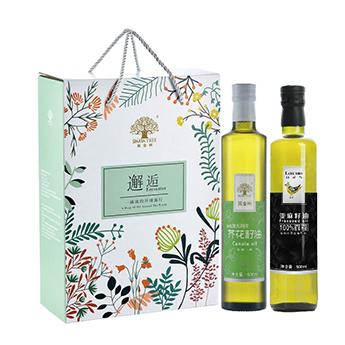 黄金树黄金搭配双支A礼盒500ml*2瓶 芥花籽油亚麻籽油组合装食用油植物油礼盒