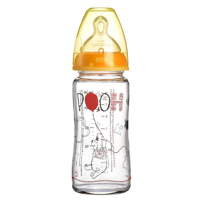 德国NUK耐高温240ml宽口玻璃彩色迪士尼维尼奶瓶(带初生型硅胶中圆孔奶嘴,适合0-6个月)颜色随机