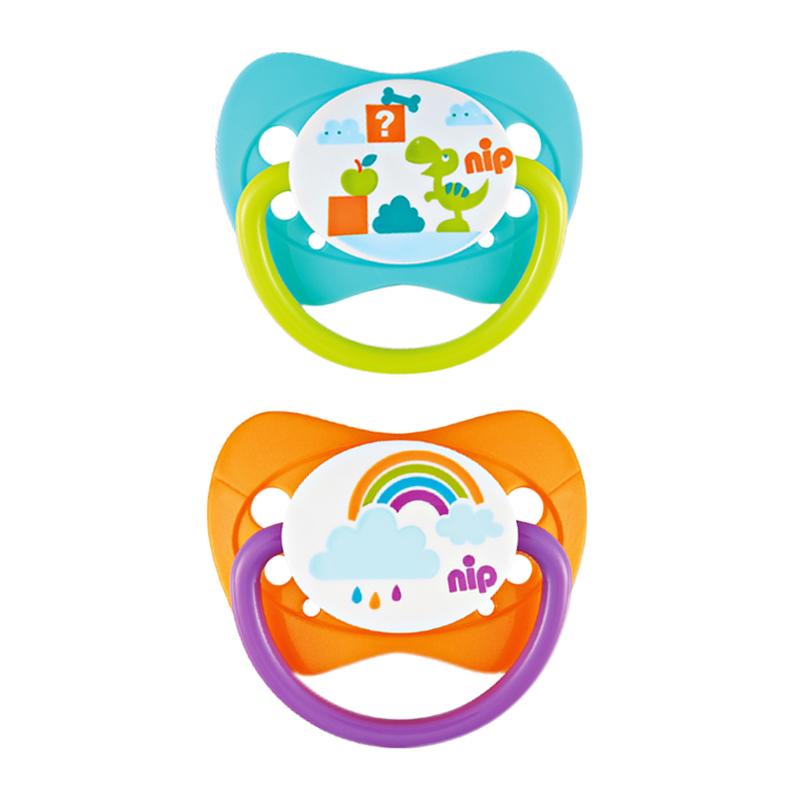 nip 时尚家庭印花安抚奶嘴(0-6个月)颜色随机