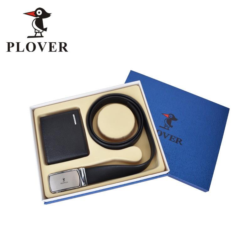 PLOVER啄木鸟时尚简约牛皮钱夹皮带腰带两件套装GD811035-2A礼盒装送男士实用礼物全国包邮
