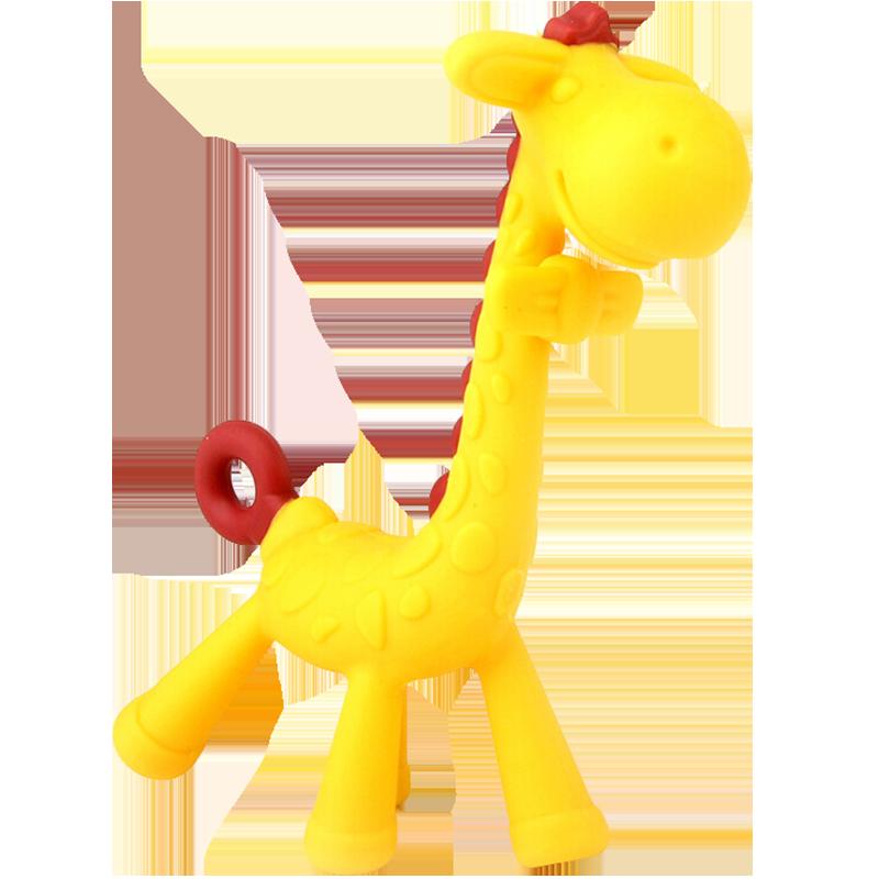 韩国原装进口香蕉宝宝牙胶婴儿硅胶磨牙棒玩具无毒水果咬咬胶长颈鹿小鹿磨牙器咬咬胶 小鹿