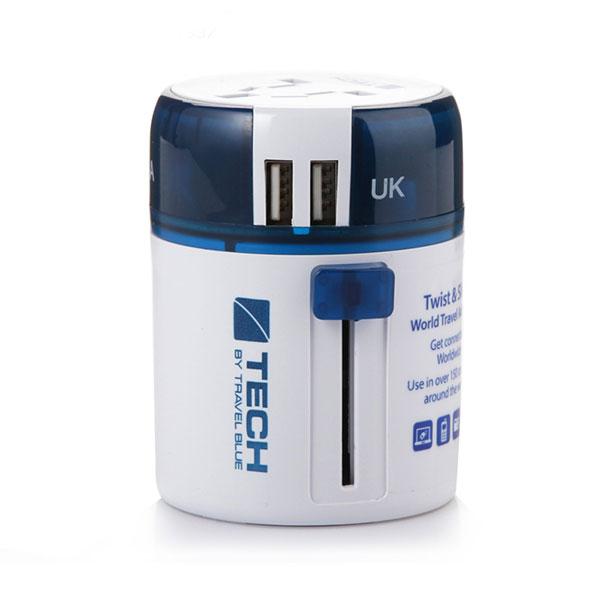 蓝旅(TRAVEL BLUE) 全球通用转换插头 出国旅行多功能电源转换插座双USB充电 270双USB(不接地)