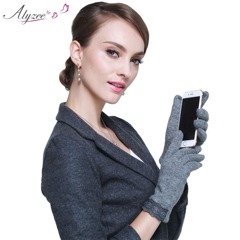 Alyzee爱丽榭羊毛手套女士保暖时装触屏时尚手套A3076
