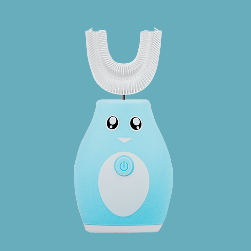 Q宝贝儿童智能声波u型电动牙刷 蓝色 6-12岁 中童(送慕斯牙膏一罐)