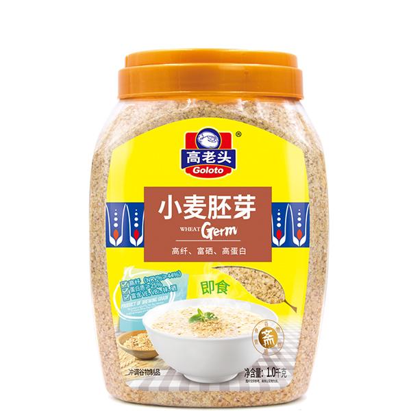 高老头小麦胚芽1000g罐装原味高纤粗粮早餐麦片粥即食代餐粉食品